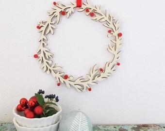 Wooden Christmas Wreath   Handmade Wood Christmas Ornament   Christmas Door Decoration by BiCA