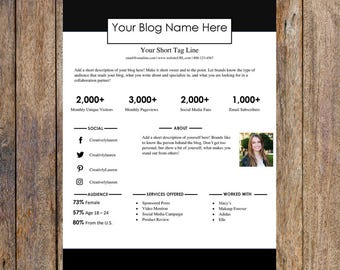 Simple One Page Media Kit Template   Blog Media Kit, Branding Kit, Blog Kit, Branding Package   Editable for MS Word   Instant Download
