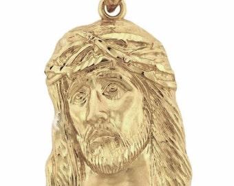 14k gold Jesus Face head charm pendant