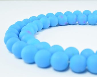 Glass Beads Matte Blue Rubber Over Glass Size 8mm Round For Jewelry Making Item#789222046224