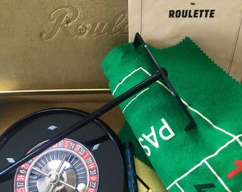 Roulette game, gambling game, mid century game, vintage casino, roulette wheel, 1950s game, collectible toy, games room decor, man cave