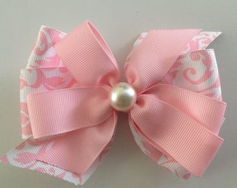 Easter Hair Bow Pink Easter Bow Pink Damask Bow Pink Damask Easter Bow with Pearl Pink Bow with Pearl Dressy Church Bow Pink and White Bow