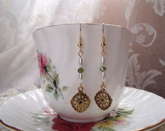 Gold Tone Earrings with Green Crystals and Pearlescent Beads; Dangle Earrings; Fashion Earrings;