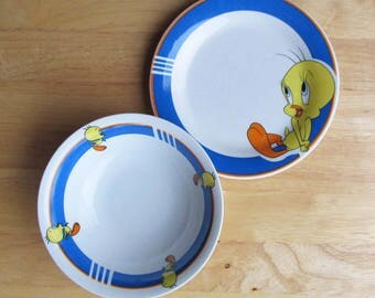 Tweety Bird Bowl and Plate | Warner Brothers Looney-Tunes Collectibles | Child's Dishes