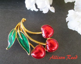 Cherry Luster Pin * Allison Reed * Fruit Brooch * Classic Enamel Brooch * Gift For Lady