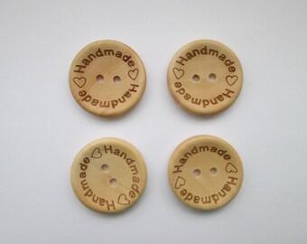Handmade 4 set wooden buttons 25 mm Ø