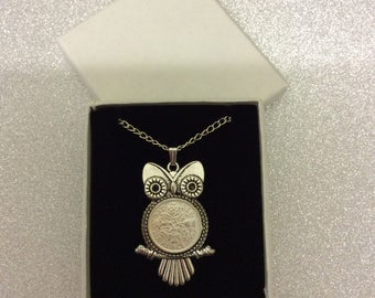 1967 silver sixpence owl on a necklace 50th birthday gift or lucky wedding gift.