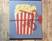 Handmade Popcorn Movie Theatre Ticket Gift Card Holder; Birthday Gift Card Holder; Gift Card Holder
