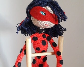 Amigurumi doll,crochet doll , personalized lady bug,acrylic thread,measures 33 cm,embroidered eyes,synthetic filling,wire per body,