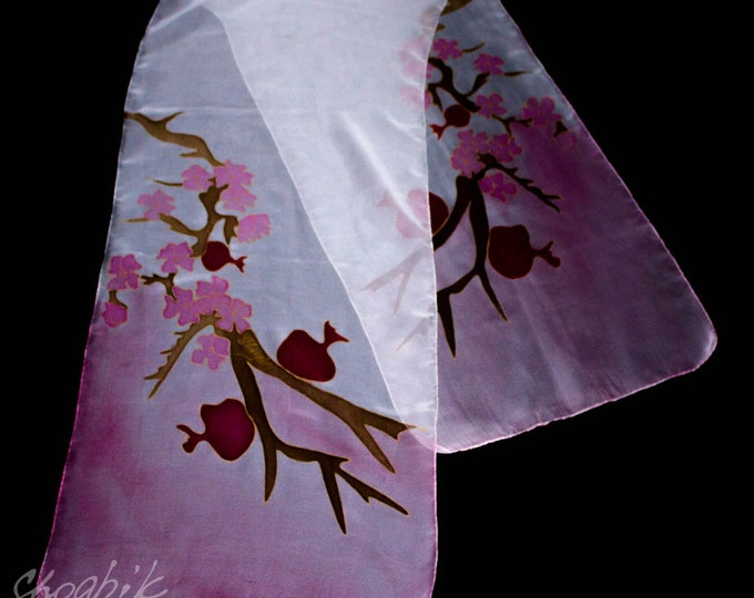 Hand Painted Silk Scarf - Batik - Armenian silk scarf - Pomegranate - Red, Brown, White, Pink - Armenian Gift