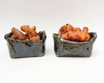 Set of 2 Rustic Short Little Pots,  Primitive Pottery Pots, Primitive Stoneware Bowl, Wabi Sabi
