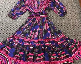 Stunning Diane Freis Fuchsia/Blue/Purple Dress