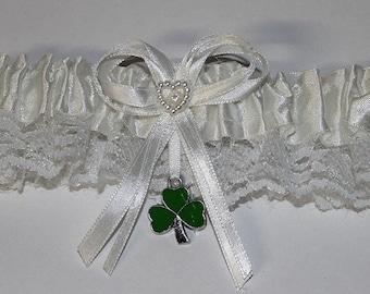 Wedding Reception Ceremony Party  3 Leaf Clover Good Luck Irish Garter White