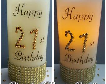 21st, 18th, 16th, 30th, 40th, 50th, 60th, 70th, 80th, 90th, personalised LED candle
