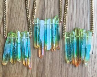 Quartz Pendant Green Mystic Quartz Pendant Rough Quartz Necklace Aura Quartz Jewellery Gift For Her Handmade Mystic Quartz Pendant HMP21