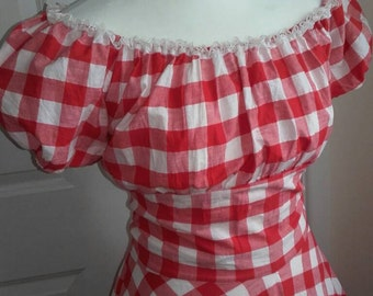 1950's Rockabilly gingham Dress Country Dress Western Cowgirl circle skirt new handmade sz8-26