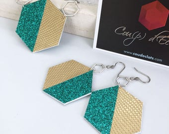 "Set necklace and earrings ""Hexagons"" - gold and turquoise"
