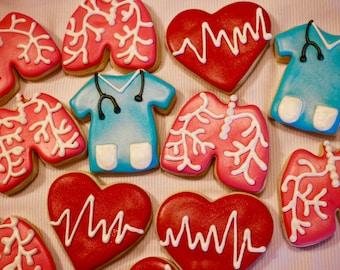 Nursing Cookies - Scrubs Cookies - Medical Cookies - Doctor - Physician - Lung Cookies - EKG Hearts - Appreciation Cookies - 1 Dozen!