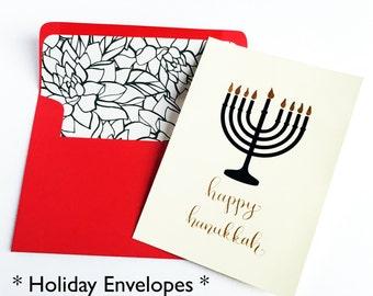 Happy Hanukkah Card Set - 5 cards & envelopes