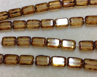 CLEARANCE-Transparent Topaz Picasso, Rectangles, table cut, 12 x 8mm, 12 glass beads