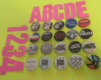 PINBACK BUTTONS! new order, arctic monkeys, the police, the smiths, Sting, Morrissey, depeche mode, Violent Femmes, England, 80's, substance