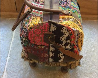 Cabin bag /carpet bag /overnight bag /luxury luggage/Indian embroidery/leather handles/gift for her or him