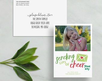 sending lots of cheer your way card // personalized photo card // red green christmas card // hand lettering // PRINTED holiday card
