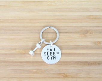 hand stamped keychain | eat sleep gym