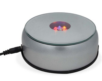 """4"""" Automated Turntable Stand AC/Battery Operated Rotating LED Display- SKU # 585S"""