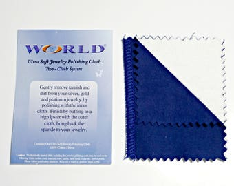 2Pcs, Jewelry Polishing Cloth, World Brand Cleaning and Polishing System, 100% Ultra Soft Cotton, Silver Tarnish Remover