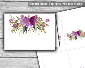Purple - Baby Shower - Food Tents - Place Cards - Labels - PRINTABLE - INSTANT DOWNLOAD - Floral - Purple and Gold - Buffet Labels - 086