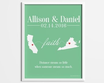Valentines gift, personalized couples state print, Long distance gift, long distance couple gift, engagement gift, anniversary wedding gift,