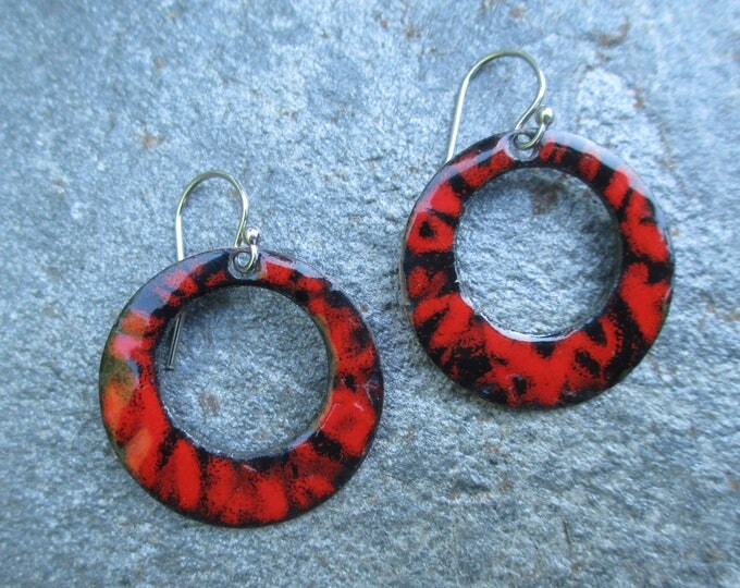 red and black sgraffito enamel hoop earrings with sterling silver ear wires