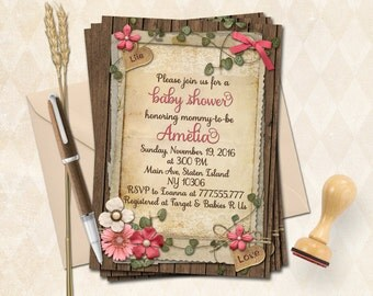 Pink rustic baby shower printable invitation girl retro floral invite digital scrapbooking lace bridal invitation old paper birthday card