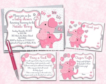 Elephant baby shower printable invitation set girl digital invite with inserts thank you bring a book Diaper Raffle card Pink fuchsia grey