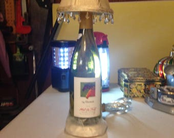 Hand made electrified wine bottle lamp with shade