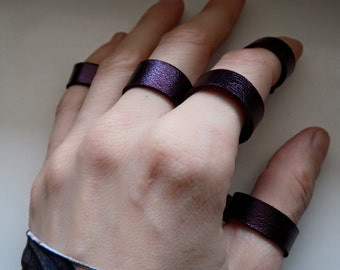 Set of Purple Leather Rings