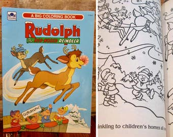 Vintage Coloring Book O 90s Rudolph The Red Nosed Reindeer Unused