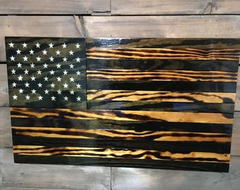 Hang Flag On Wall old glory american flag military veteran made wood flag