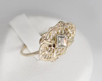 gold diamond ring, antique diamond ring, 14k gold solitaire diamond ring,  art nouveau ring, old mine cut ring, 14k antique engagement ring