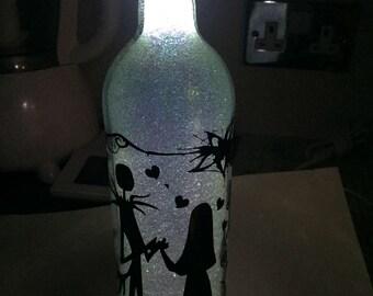 Glittered nightmare before christmmas wine bottle light