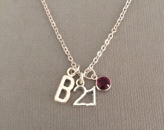 21st birthday gift for her, Swarovski birthstone personalised 21st birthday necklace, 21st birthday present, 21 jewellery, jewelry