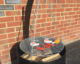 CRESCENT MOON Fire-Pit with removable BBQ shelf