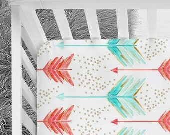 Coral and Mint arrows fitted crib sheet, baby girl bedding, designer arrows, tribal baby girl, gold scattered dots
