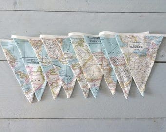 Fabric bunting world map banner