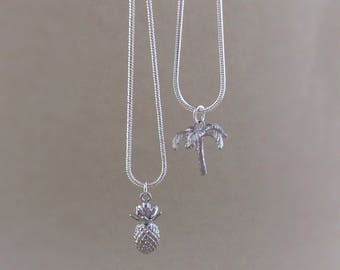 Silver pineapple necklace, silver palm tree necklace, palm tree charm, pineapple charm, silver palm tree