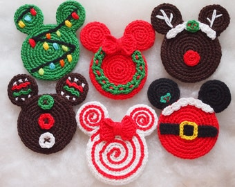 Mickey Mouse Minnie Mouse crochet pattern, Christmas Ornament, Christmas wreath, Christmas tree, Gingerbread, Santa Claus, lollipop, Rudolph