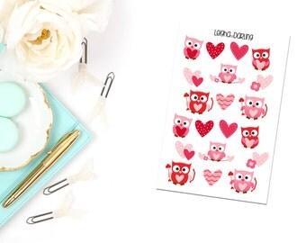 Valentine's Day Owl Planner Stickers