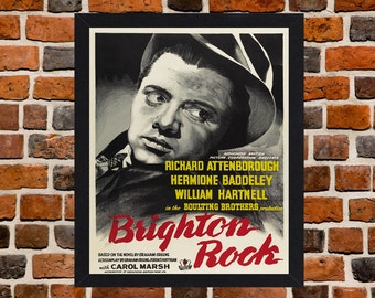 Framed Brighton Rock Classic British Movie / Film Poster A3 Size Mounted In Black Or White Frame
