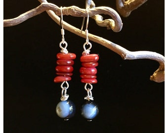Red Mother of Pearl chip earrings